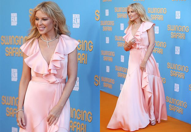 Słodka Kylie Minogue na pomarańczowym dywanie