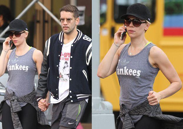 Scarlett Johansson wychodzi z mężem z siłowni (ZDJĘCIA)