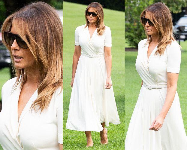 Zamyślona Melania Trump przemierza trawnik w szpilkach za 2,5 tysiąca złotych (ZDJĘCIA)