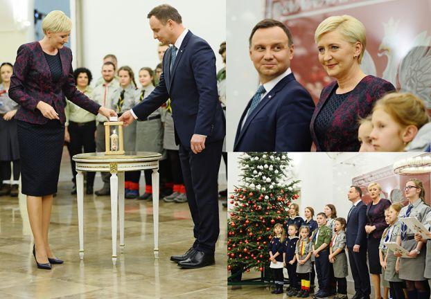 Andrzej i Agata Duda witają harcerzy w Pałacu Prezydenckim (ZDJĘCIA)
