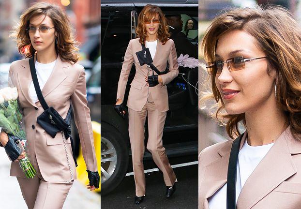 """Elegancka Bella Hadid dodała sobie lat fryzurą i """"poważną"""" stylizacją"""