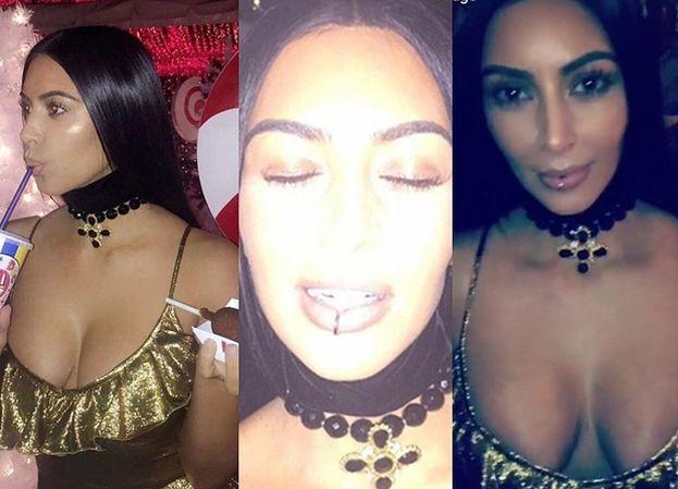 Kim Kardashian na imprezie świątecznej z przekłutymi… ustami? (FOTO)