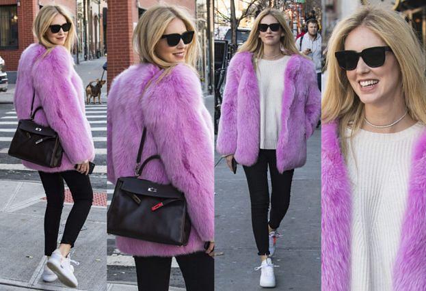#TRENDY: Ciężarna Chiara Ferragni w różowym futrze