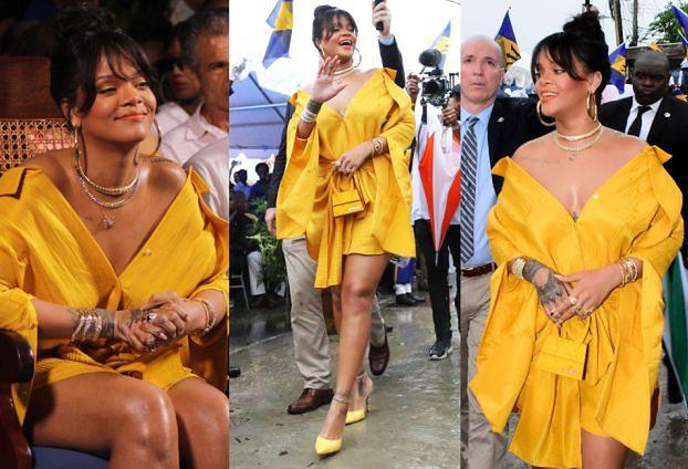 Rihanna cała na żółto cieszy się z ulicy swojego imienia