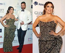 Eva Longoria pozuje w zniekształcającej sylwetkę sukience u boku Ricky'ego Martina