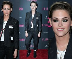 Chłopięca Kristen Stewart promuje film w garniturze Chanel