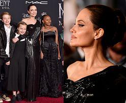 """Złowieszcza Angelina Jolie zabrała liczne potomstwo na premierę """"Czarownicy 2"""" (FOTO)"""