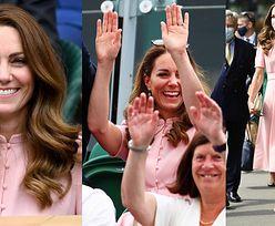 """Ubrana w sukienkę za 3,5 TYSIĄCA Kate Middleton bierze udział w """"meksykańskiej fali"""" na Wimbledonie (ZDJĘCIA)"""