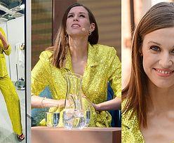 Odpicowana Julia Kamińska błyszczy w cekinowym garniturze na konferencji ramówkowej TVN (ZDJĘCIA)