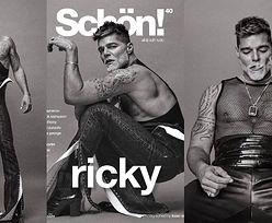 Siwowłosy Ricky Martin pręży muskuły, ubrany w skórę i siateczkową bluzkę. Seksowny? (ZDJĘCIA)