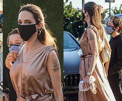 Zamaskowana Angelina Jolie z SZÓSTKĄ POCIECH maszeruje na sushi do modnej knajpki w Malibu (ZDJĘCIA)