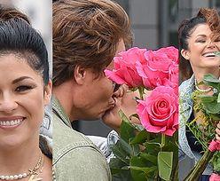 Romantyczny Marcin Hakiel przybywa z bukietem róż po debiutującą w śniadaniówce Katarzynę Cichopek (ZDJĘCIA)