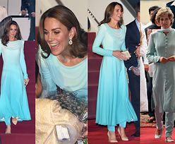 Księżna Kate wita Pakistan w błękitnej kreacji nawiązującej do stroju księżnej Diany (ZDJĘCIA)