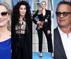 """Gwiazdy na premierze drugiej części """"Mamma Mia"""": Meryl Streep, Amanda Seyfried, głęboki dekolt Cher... (ZDJĘCIA)"""