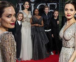 """Zjawiskowa Angelina Jolie z dziećmi EKSPONUJE WYTATUOWANE PLECY na kolejnej premierze """"Czarownicy"""" (ZDJĘCIA)"""