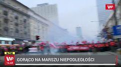 Marsz Niepodległości. Narodowcy przerwali kordon straży. Policjanci zaatakowani racami