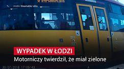 Wypadek w Łodzi. Rowerzysta zderzył się z tramwajem