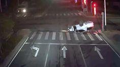 Pijany kierowca dachował. Moment wypadku uchwycony na nagraniu