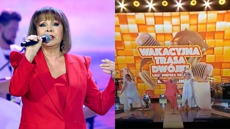 """Izabela Trojanowska PRZEWRÓCIŁA SIĘ na scenie """"Wakacyjnej ..."""