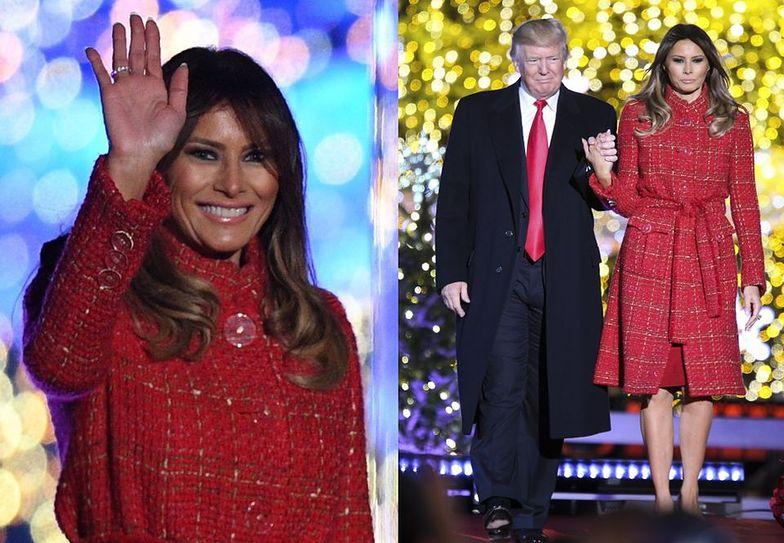 Melania i Donald Trump zapalają lampki przed Białym Domem