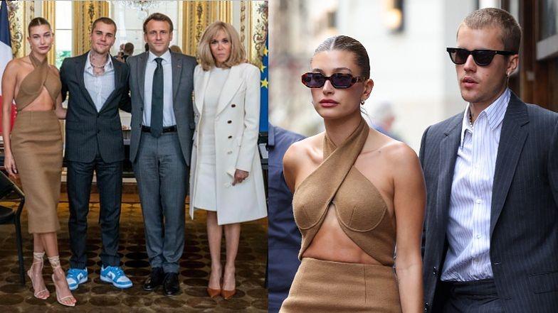 Justin i Hailey Bieber spotkali się z Emmanuelem Macronem! Piosenkarz snuł się po Pałacu Elizejskim w niebieskich tenisówkach... (ZDJĘCIA)