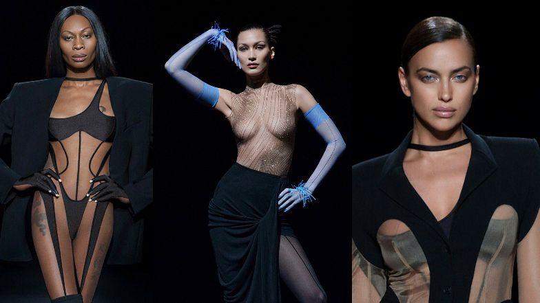 """Pokaz Mugler 2021: teatralna Bella Hadid, uwodzicielska Irina Shayk i ostra jak brzytwa Dominique Jackson z serialu """"Pose"""" (ZDJĘCIA)"""