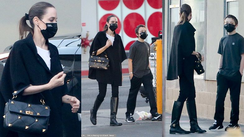 Angelina Jolie w kozakach i pelerynie robi zakupy z najmłodszym synem Knoxem (ZDJĘCIA)