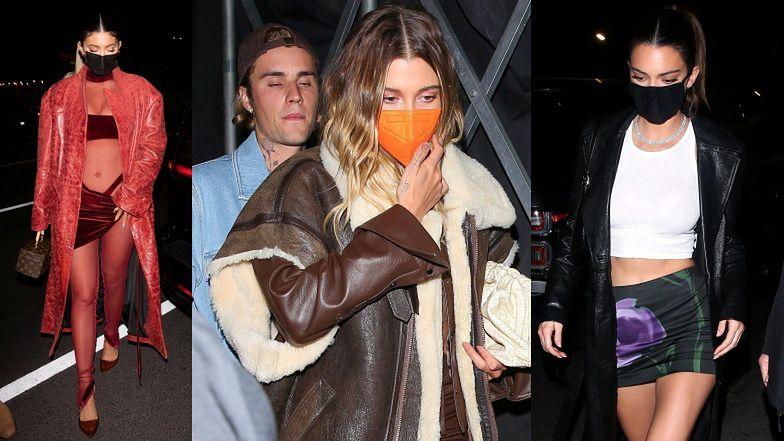 Śmietanka towarzyska w drodze na imprezę Justina Biebera: Kendall i Kylie Jenner i Hailey Bieber w kurtce SARY BORUC!