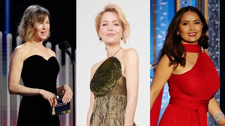 """Złote Globy 2021: elegancka Renee Zellweger, dostojna Gillian Anderson, """"ognista"""" Salma Hayek... (ZDJĘCIA)"""