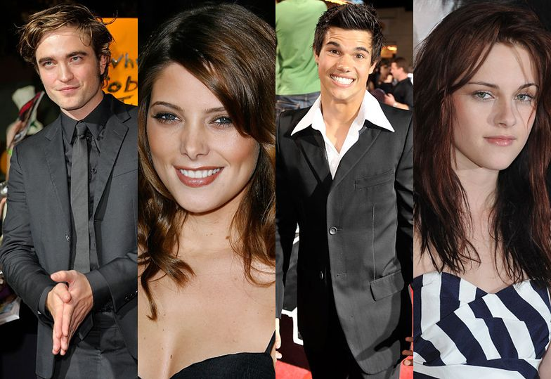 Robert Pattinson, Ashley Greene, Taylor Lautner i Kristen Stewart w 2008 roku