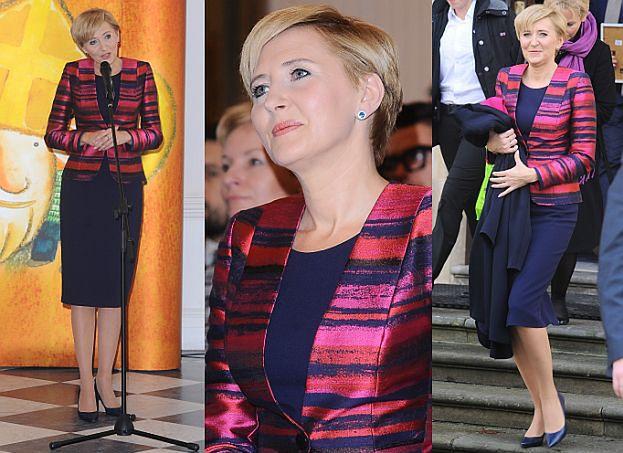 Agata Duda w różowej marynarce (ZDJĘCIA)