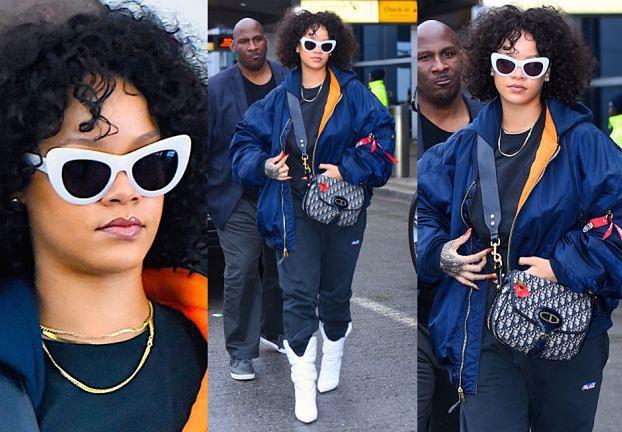 Rihanna w białych kozaczkach i z torebką za 8 tysięcy