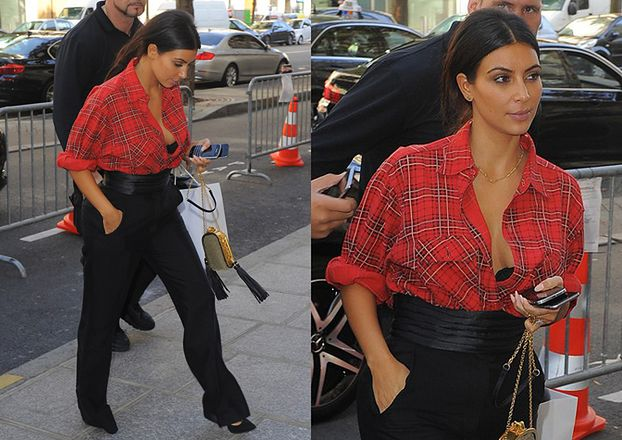 Kim Kardashian w rozpiętej koszuli... (ZDJĘCIA)