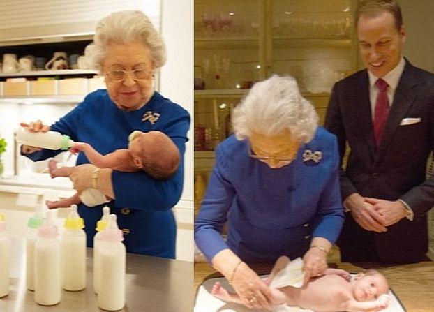 Rodzina królewska za kulisami: Królowa przewija prawnuczkę...