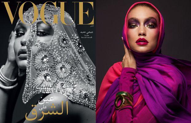 Gigi Hadid rozchyla usta w hidżabie
