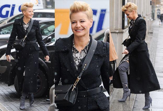 Modna Małgorzata Kożuchowska w zimowej stylizacji
