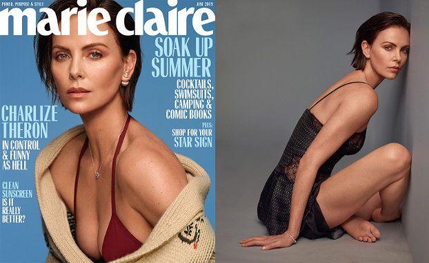 """Ciemnowłosa Charlize Theron na nastrojowych portretach dla """"Marie Claire"""""""