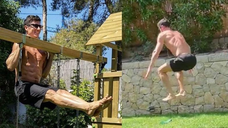 Skoczny jak żabka Robert Lewandowski robi trening na PLACU ZABAW. Fajnie? (ZDJĘCIA)