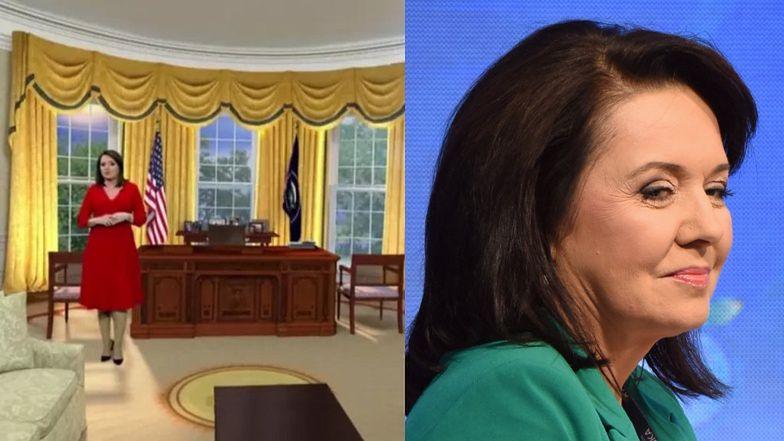 """Wystrojona Danuta Holecka paraduje po Białym Domu w """"Wiadomościach"""". Internauci: """"Redaktor dzisiaj jak Melania Trump"""""""