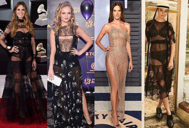 Z czym celebrytki noszą prześwitujące sukienki?