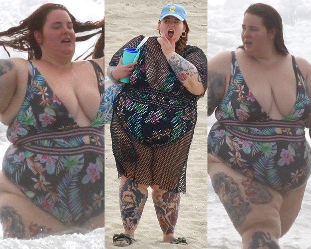 Niezwykle dorodna Tess Holliday wyłania się z piany na plaży w Malibu (ZDJĘCIA)