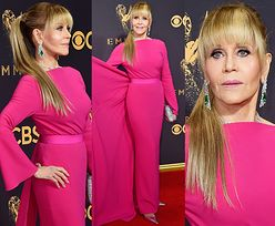 79-letnia Jane Fonda w różowej sukni i z doczepionym kucykiem na gali Emmy Awards (ZDJĘCIA)