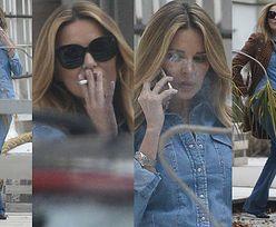 W dżins odziana Hania delektuje się papierosem z rana (ZDJĘCIA)