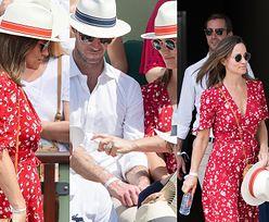 Ciężarna Pippa Middleton chroni męża przed promieniowaniem UV na turnieju tenisowym (ZDJĘCIA)