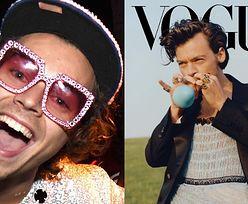 """Harry Styles odpowiada na krytykę sesji dla """"Vogue'a"""", pozując W FALBANKACH i z bananem w buzi (ZDJĘCIA)"""