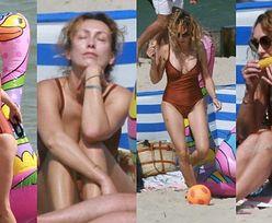 Anna Kalczyńska wyleguje się na dmuchanym flamingu i wcina kukurydzę na plaży w Chałupach (ZDJĘCIA)