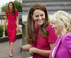Rozpromieniona Kate Middleton w malinowej sukience Alexandra McQueena wymienia grzeczności z Jill Biden na szczycie G7 (ZDJĘCIA)