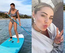 """Ambitna Małgorzata Socha uczy się paddleboardingu. """"Najbardziej ŻENUJĄCA SESJA na SUPie"""" (FOTO)"""