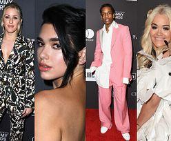 Grammy 2019: Rita Ora w piórach, elegancka Dua Lipa, A$ap Rocky w różu i nowa twarz Ellie Goulding pozują na imprezie Clive'a Davisa (ZDJĘCIA)