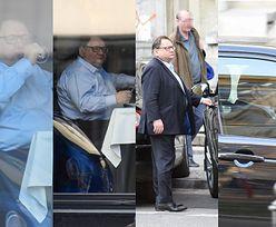 Ryszard Kalisz popija napój z kieliszka i odjeżdża autem spod restauracji (ZDJĘCIA)